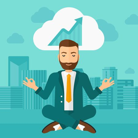 man meditating: Peaceful hipster man with the beard meditating in lotus pose and thinking about the growth graph  on the background of modern city vector flat design illustration. Square layout.
