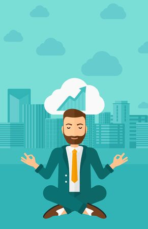 man meditating: Peaceful hipster man with the beard meditating in lotus pose and thinking about the growth graph  on the background of modern city vector flat design illustration. Vertical layout.