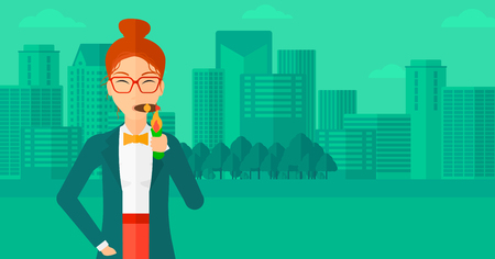 A woman smoking a cigar on the background of modern city vector flat design illustration. Horizontal layout. Ilustrace