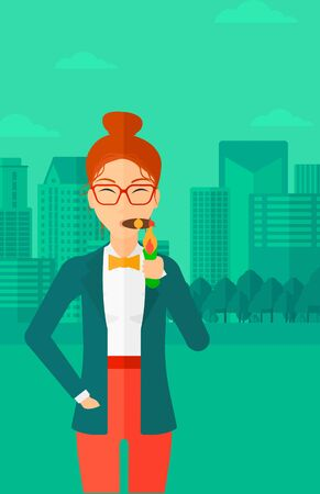 A woman smoking a cigar on the background of modern city vector flat design illustration. Vertical layout.