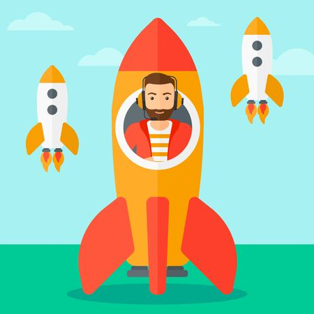 taking off: A hipster man with the beard taking off in a rocket on the background of blue sky vector flat design illustration. Square layout.