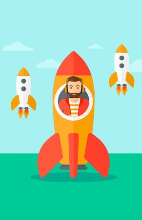 A hipster man with the beard taking off in a rocket on the background of blue sky vector flat design illustration. Vertical layout.