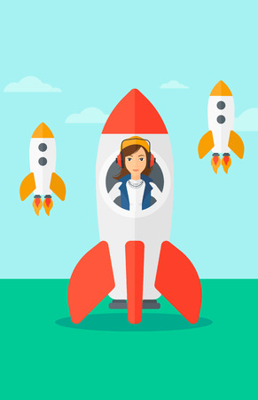 taking off: A woman taking off in a rocket on the background of blue sky vector flat design illustration. Vertical layout. Illustration