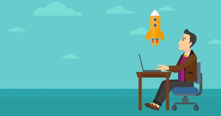 man flying: A man sitting at the table in front of laptop and looking at a flying rocket on the background of blue sky vector flat design illustration. Horizontal layout.