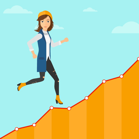 Cheerful woman running along the growth graph on the background of blue sky vector flat design illustration. Square layout.