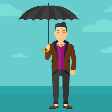 sheltering: A man standing with an umbrella on the background of blue sky vector flat design illustration. Square layout. Illustration