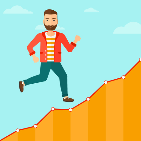 runner up: Cheerful hipster man with the beard running along the growth graph on the background of blue sky vector flat design illustration. Square layout.