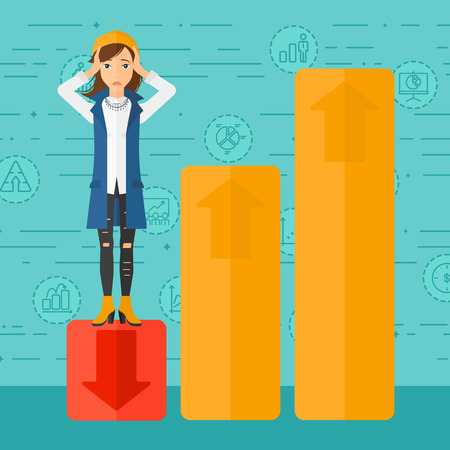 upset woman: Upset woman clutching her head and standing in bottom of uprising chart on a blue background with business icons vector flat design illustration. Square layout.