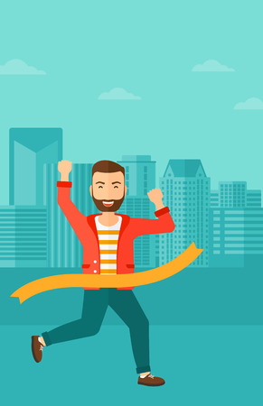 first house: A hipster man with the beard running through finishing line on the background of modern city vector flat design illustration. Vertical layout.