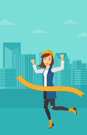 concurrence: A woman running through finishing line on the background of modern city vector flat design illustration. Vertical layout. Illustration