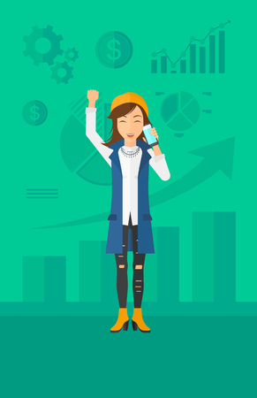 smart phone woman: A woman with raised hand talking on the phone on a green background with business charts vector flat design illustration. Vertical layout. Illustration