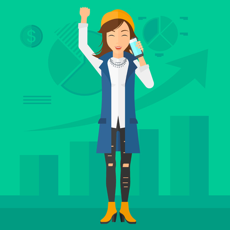 smart phone woman: A woman with raised hand talking on the phone on a green background with business charts vector flat design illustration. Square layout.