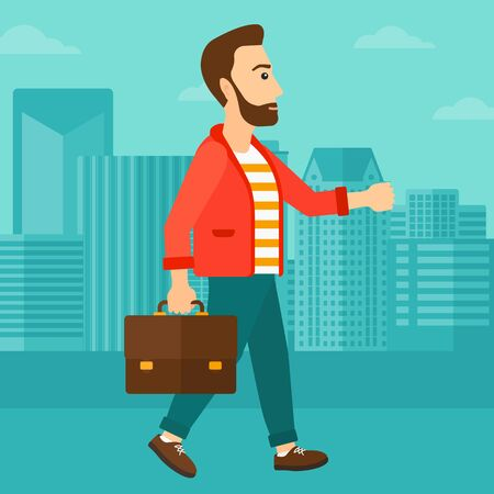 move: A hipster man with the beard walking with a briefcase on the background of modern city vector flat design illustration. Square layout.