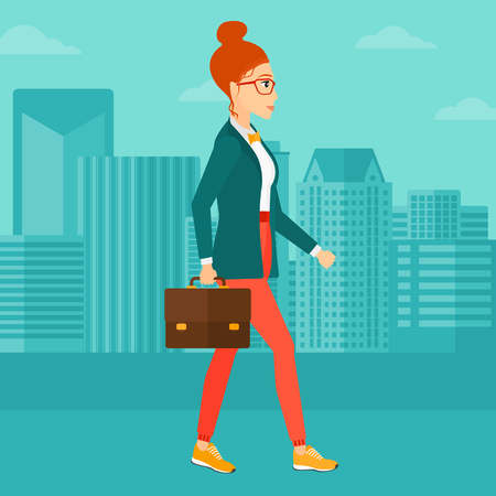 caucasians: A woman walking with a briefcase on the background of modern city vector flat design illustration. Square layout.