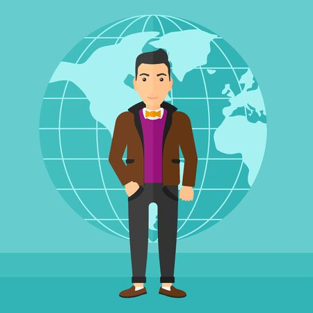 sphere standing: A successful businessman standing on a blue background with earth globe vector flat design illustration. Square layout. Illustration