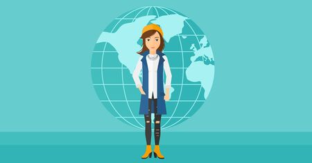 business woman standing: A successful business woman standing on a blue background with earth globe vector flat design illustration. Horizontal layout.