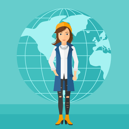 business woman standing: A successful business woman standing on a blue background with earth globe vector flat design illustration. Square layout.