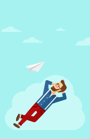 man looking at sky: A hipster man with the beard lying on a cloud and looking at flying paper plane on the background of blue sky vector flat design illustration. Vertical layout.