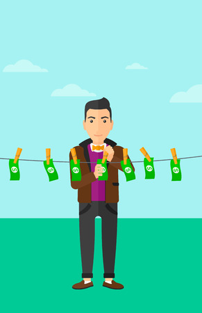 dinero falso: A businessman drying banknotes on clothesline on the background of blue sky vector flat design illustration. Vertical layout.