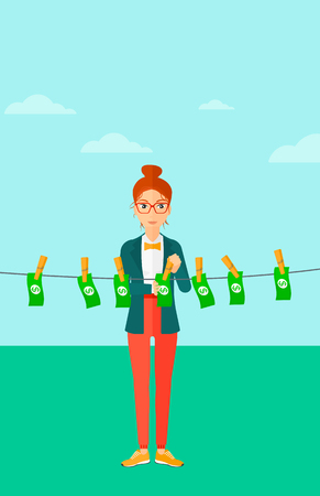 A business woman drying banknotes on clothesline on the background of blue sky vector flat design illustration. Vertical layout.
