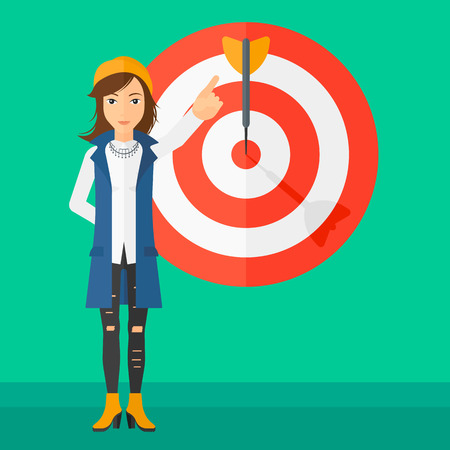 full length woman: A woman pointing at arrow in a target board on a green background vector flat design illustration. Square layout.