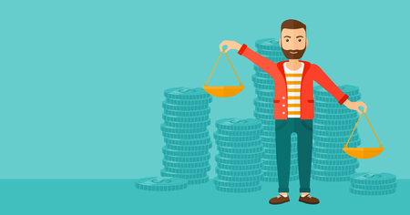 outweigh: A hipster man with the beard holding scales in hands on a blue background with stacks of coins vector flat design illustration. Horizontal layout.