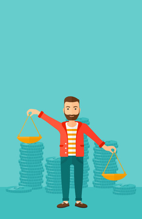 scale of justice: A hipster man with the beard holding scales in hands on a blue background with stacks of coins vector flat design illustration. Vertical layout.