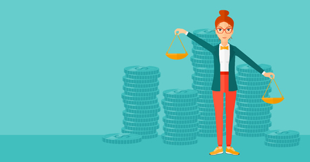 scale of justice: A woman holding scales in hands on a blue background with stacks of coins vector flat design illustration. Horizontal layout.