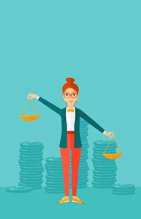 Een vrouw die schalen in handen op een blauwe achtergrond met stapels van munten vector platte ontwerp illustratie. Verticale lay-out.
