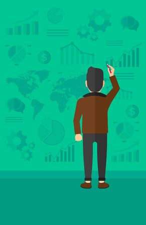 schemes: A man turned back painting something on a green wall with many charts and a map vector flat design illustration. Vertical layout.