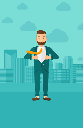 undress: A hipster man with the beard taking off his jacket on the background of modern city vector flat design illustration. Vertical layout.