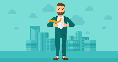 undress: A hipster man with the beard taking off his jacket on the background of modern city vector flat design illustration. Horizontal layout.