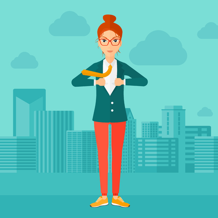 undress: A woman taking off her jacket on the background of modern city vector flat design illustration. Square layout.