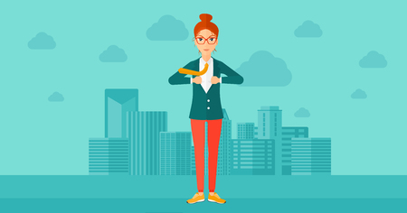 undress: A woman taking off her jacket on the background of modern city vector flat design illustration. Horizontal layout.