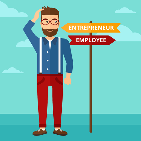 career choices: A confused man with two career choices in front of him on the background of blue sky vector flat design illustration. Square layout.