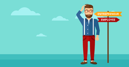 career choices: A confused man with two career choices in front of him on the background of blue sky vector flat design illustration. Horizontal layout. Illustration