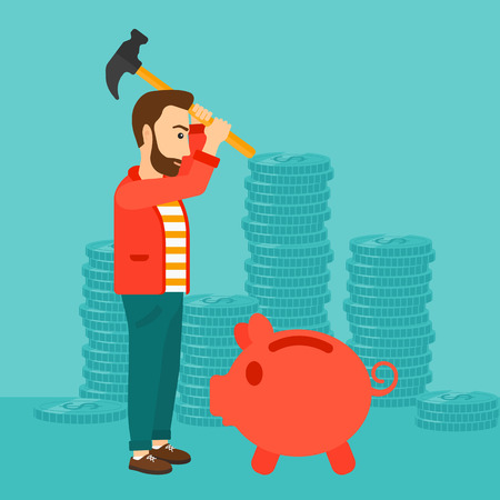 desperation: A hipster man with a hammer breaking a piggy bank on a blue background with stacks of coins vector flat design illustration. Square layout.
