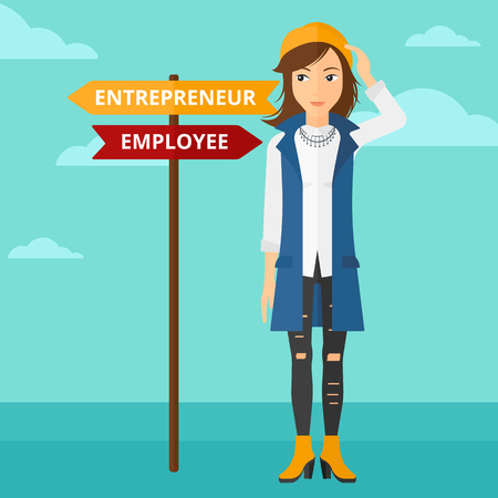 A confused woman with two career choices in front of her on the background of blue sky vector flat design illustration. Square layout.