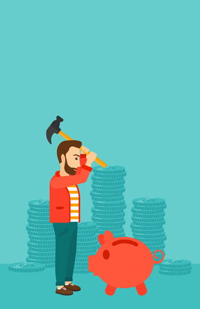 desperation: A hipster man with a hammer breaking a piggy bank on a blue background with stacks of coins vector flat design illustration. Vertical layout.