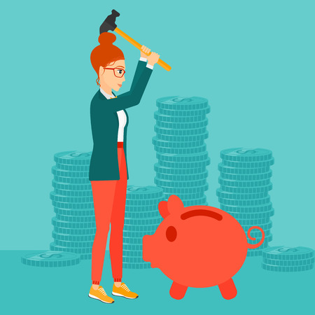 desperation: A woman with a hammer breaking a piggy bank on a blue background with stacks of coins vector flat design illustration. Square layout.