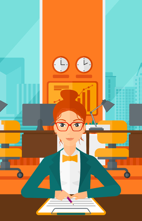 subscribing: A woman sitting at the table and signing a contract on the background of panoramic modern office with city view vector flat design illustration. Vertical layout.