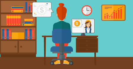video chat: A woman sitting in the office and talking with other woman using video chat vector flat design illustration. Horizontal layout.