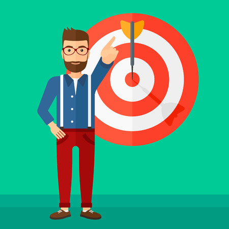 A hipster man with the beard pointing at arrow in a target board on a green background vector flat design illustration. Square layout.