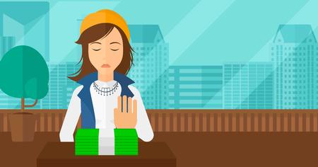 Vrouw die zich dollarbiljetten weg en het weigeren om steekpenningen te nemen op de achtergrond van panoramische moderne kantoor met uitzicht op de stad vector platte ontwerp illustratie. Horizontale lay-out.