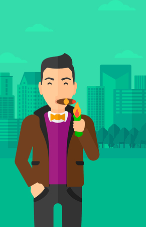 cigar smoking man: A man smoking a cigar on the background of modern city vector flat design illustration. Vertical layout.