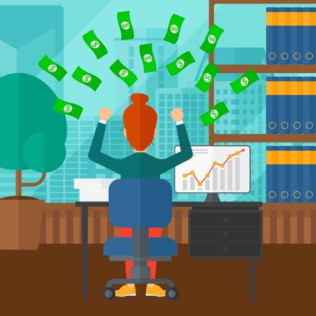 money flying: Una mujer que se sienta delante del ordenador con las manos levantadas y dinero volando por encima de ella en el fondo de la oficina moderna con vistas panorámicas de la ciudad ilustración diseño plano. de planta cuadrada.