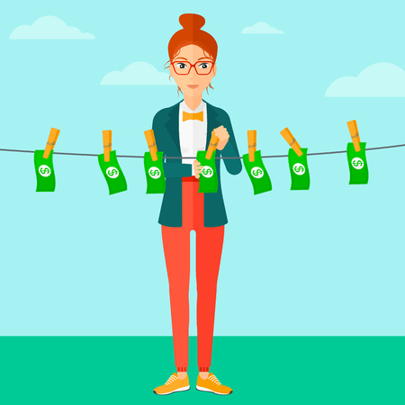 laundered: A business woman drying banknotes on clothesline on the background of blue sky flat design illustration. Square layout.