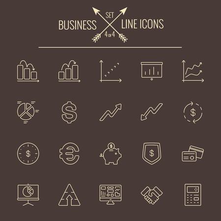 dark brown background: Business icon set. Vector light yellow icon isolated on dark brown background.