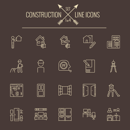 Construction icon set. Vector light yellow icon isolated on dark brown background. Illustration