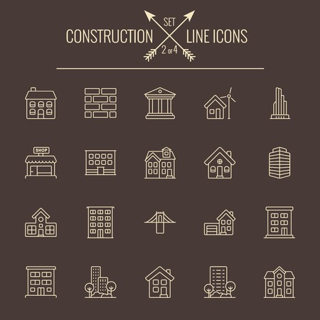 dark brown background: Construction icon set. Vector light yellow icon isolated on dark brown background. Illustration